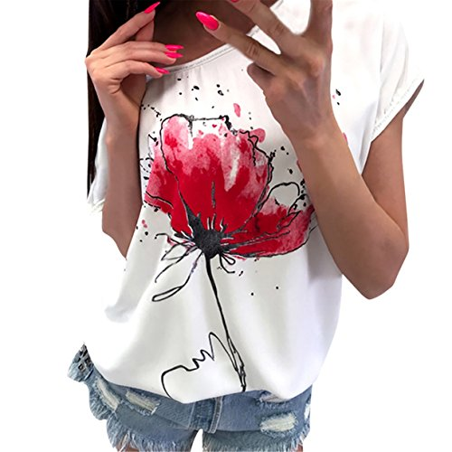 BYEEE ® Women's Crew Neck Short Bat Sleeve Tops Draped Plain Ruched Casual T-Shirts Floral Tee Blouse (White✤, 2XL) from BYEEE ®