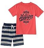 Tommy Hilfiger Baby Boys 2 Pieces Shorts Set, Melon/Navy, 12M