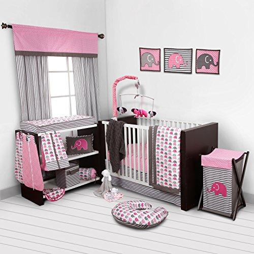 Elephants Pink/Grey 10 pc Crib Set Bumperfree