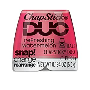 ChapStick DUO Half Lip Balm, 8 Hour Moisture, 0.194 Ounce (Refreshing Watermelon Flavor, 1 Refill Pack of 1 Piece)