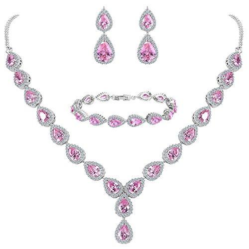 BriLove Women's Wedding Bridal Jewelry Set Y-Necklace Tennis Bracelet Dangle Earrings Set with Teardrop CZ Infinity Figure 8 Pink Tourmaline Color Silver-Tone October Birthstone