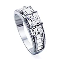 Platinum Plated Sterling Silver Wedding & Engagement Ring Three Stones, Square Cut 1.5Carat Cubic Zirconia ( Size 5 to 9) by Double Accent