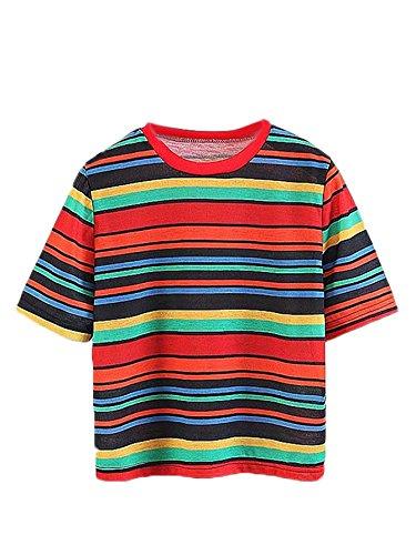 (ROMWE Women's Color Block Stripe T-Shirt Rainbow Round Neck Short Sleeve Basic Shirt Top Blouse Multicolor S)