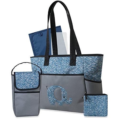 Tender Kisses 5 Piece Diaper Bag Set, (Blue Diaper Pouch)