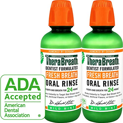 TheraBreath Fresh Breath Oral Rinse, Mild Mint, 16 Ounce Bottle (Pack of 2) (Fluoride Water Detector)