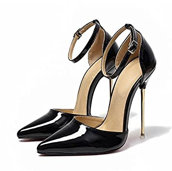 VIVIOO High Heels Pink Patent Leather Metal Heels Pumps Pointed Toe Ankle  Strap High Heel Dress