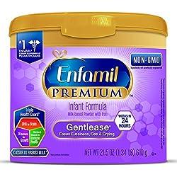 Enfamil PREMIUM Non-GMO Gentlease Infant Formula, Powder, 21.5 Ounce Reusable Tub