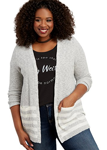 Maurices Women's Plus Size Cardigan With Stripes 3 Lt Heather Gray