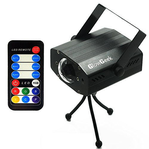 [GlowGeek Led party 7 colors lights Projector Strobe Lights Disco Party Halloween Christmas Festival Lighting Light 9-watt Ocean Moving Special Effect with Remote(Matte] (Halloween Lighting)