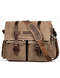 Military Satchel Messenger Bag Vintage Canvas Travel Bag for 15 Inch Laptop