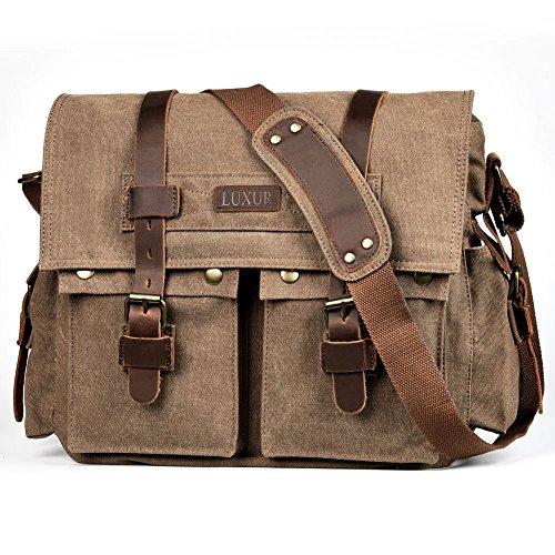 LUXUR 16 Inch Messenger Bag Shoulder Laptop Bags Military Satchel Vintage Canvas Travel Bag Bookbag ()