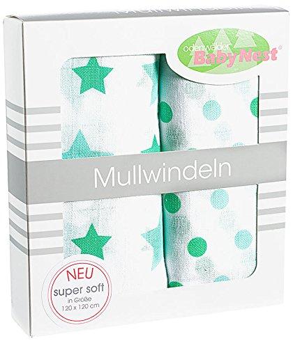 516 APPLEMINT 2er Pack Odenw/älder Doppelmull-Windeln Sterne Tupfen 120x120cm