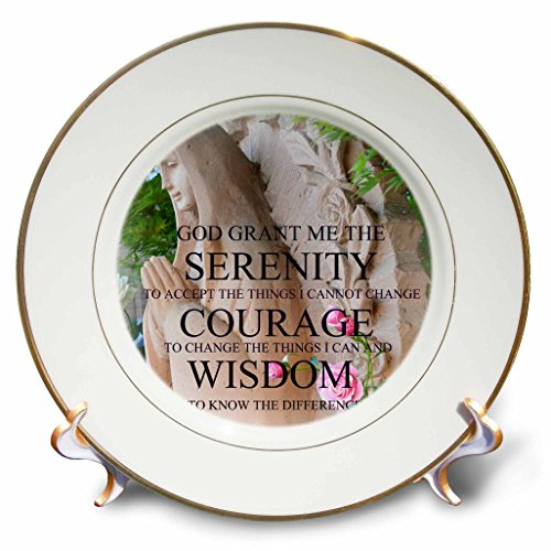 3dRose cp_39386_1 Serenity Prayer Roses-Inspirational Photography-Spirituality-Porcelain Plate, 8-Inch