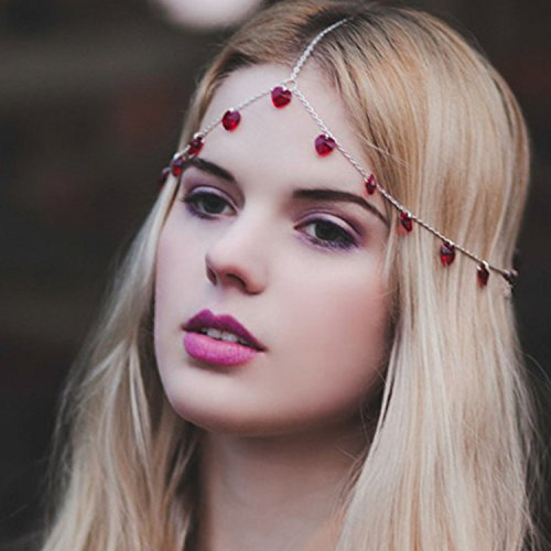Nero Lady's Forgiveness Head Chain with Ruby, Tri Silver Chain for Hair Decoration (Red)