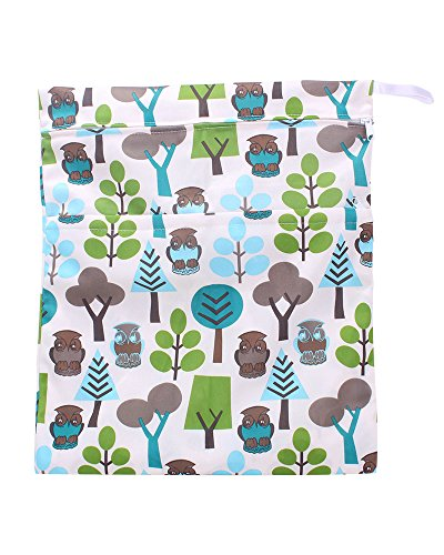 NiceEshop(TM) Waterproof Resuable Wet and Dry Baby Diaper Bag Oranizer Pouch ,Owl