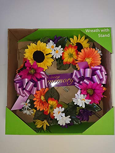 (NDI Pink, Purple, White, Green, Yellow Memorial Headstone Wreath Beautiful Artificial Flowers Sunflowers, Ribbons for cemetary plots, Religious Shrine, Grave Decoration, Funeral Services - 16