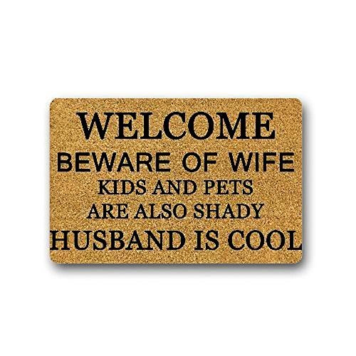 Beware Of Wife Kids And Pets Are Also Shady Funny Design Printed Indoor/Outdoor Doormat 23.6(L)X15.7(W) inch Non-Slip Machine-washable Home Decor