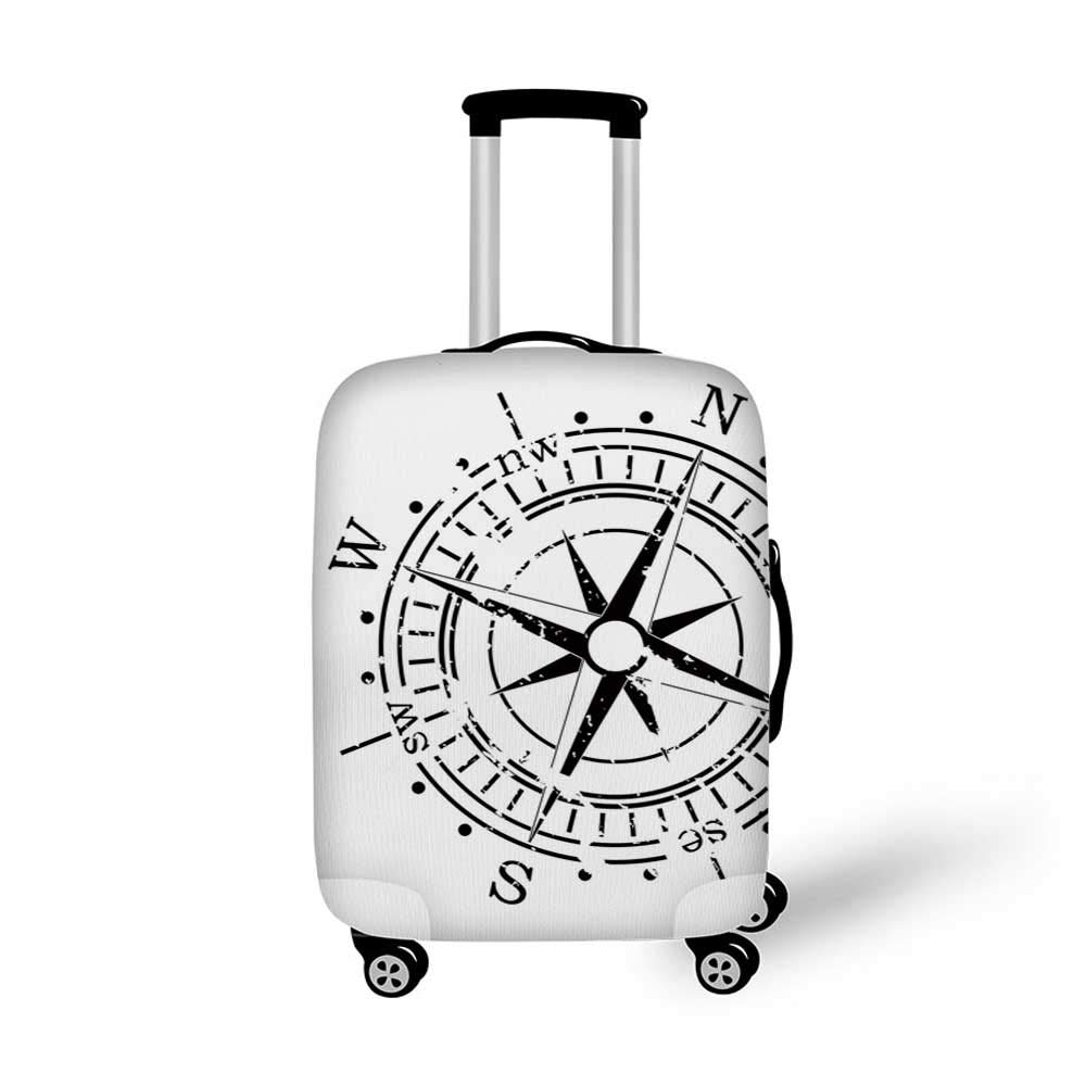 Compass Stylish Luggage Cover,Central American Map Caribbeans Background Windrose Design Gulf of Mexico Cuba Decorative for Luggage,M 19.6W x 28.9H