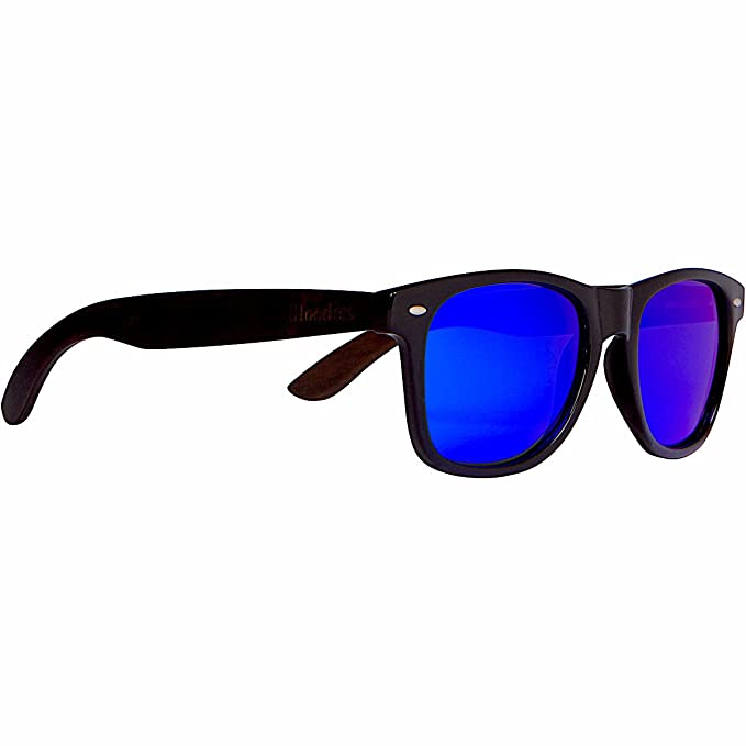 6842cfc1909 Image Unavailable. Image not available for. Color  WOODIES Ebony Wood  Sunglasses with Blue Mirror Polarized Lens