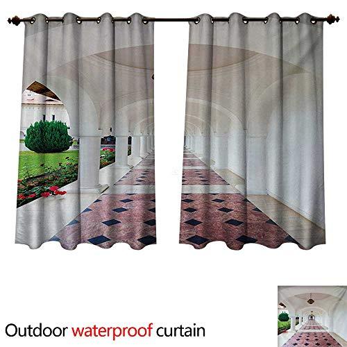 WilliamsDecor Travel 0utdoor Curtains for Patio Waterproof Dome Arched Colonnade Hallway at Sambata De Sus Monastery in Transylvania Romania W55 x L72(140cm x 183cm)
