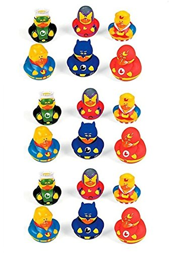 Lot Of 18 Super Hero Rubber Duck Party Favors - Superhero - Superhero Rubber Ducks