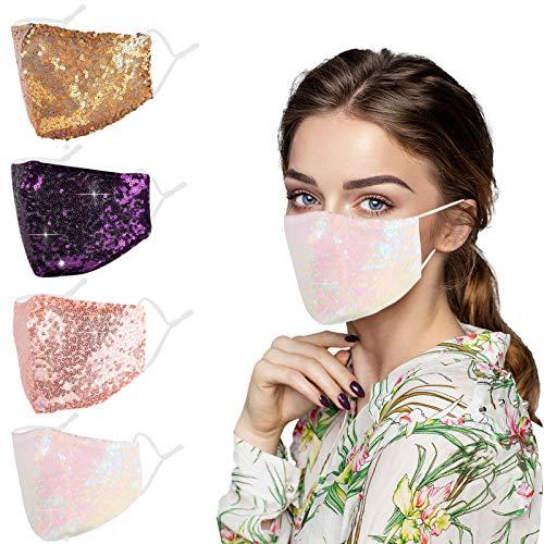 4pcs Bling Cloth Reusable Face Mask Women, Adjustable EarLoops Sequin Sparkle Glitter Designer Fashion Washable Cotton Fabric