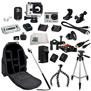 GoPro HERO3+ Black Edition Camera (CHDHX-302) + SSE® Action Pro Series All In 1 ATV/Bike Kit Designed for Bike Mount Motorcross, ATV, ROAD, MOUNTAIN, snowmobile + Extra Necessary Accessories