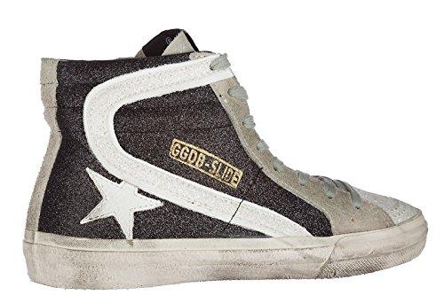 Golden Goose Damer Sko Kvinders Lædersko Høje Sneakers Sort Slide mKom6YS