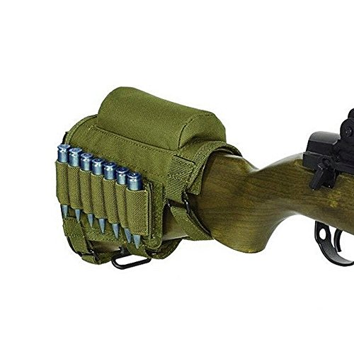 Pure Direct Rifle Cheek Riser, Tactical Rifle Buttstock Cheek Rest Pad with 7 Rifle Stocks Holder for 308 - .300Winmag (Army Green)