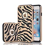 zebra print phone accessories - iPhone 6s Case, Harsel Deluxe Fashion Zebra Print Heavy Duty Slim Fit Shield Case Ultra Thin Armor Premium Shockproof Bumper Defender Dual Layer Cover Shell for iPhone 6 / 6s - Gold Black