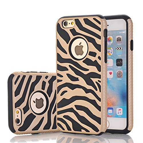 - iPhone 6s Case, Harsel Deluxe Fashion Zebra Print Heavy Duty Slim Fit Shield Case Ultra Thin Armor Premium Shockproof Bumper Defender Dual Layer Cover Shell for iPhone 6 / 6s - Gold Black
