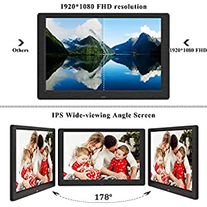 SEQI 10.1 Inch Digital Photo Frame, 1920×1080 Full HD IPS Display Photo/Music/Video Player Calendar Alarm Auto On/Off…