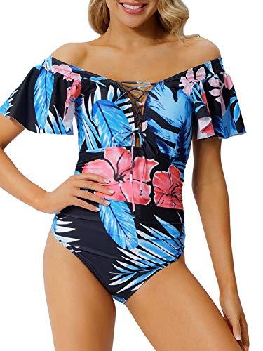 Peddney Women Flounce One Piece Swimsuit Lace Up Off Shoulder Bathing Suit Floral Print Ruffle Monokini