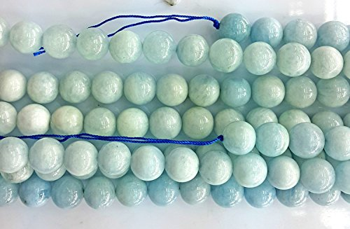 Heated 16in Strand (Bead, aquamarine (heated), 6mm round, C grade, Mohs hardness 7-1/2 to 8. Sold per 16-inch)