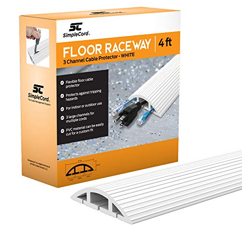 Simple Cord 4 FT White Floor Cord Cover - Protects Cables, Cords, or Wires - 3 Channel On Floor Raceway for Sidewalks or Walkways, in The Home or Office Doorways (White 4 ft) ()