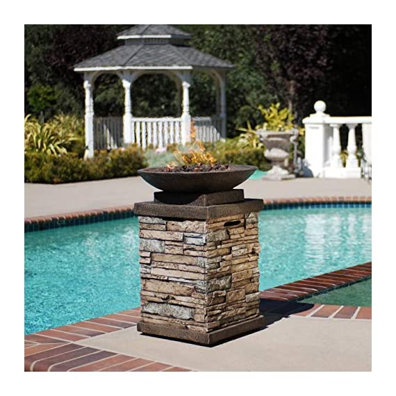 Bond Manufacturing 63172 Newcastle Propane Firebowl Column Realistic Look Firepit Heater Lava Rock 40,000 BTU Outdoor Gas Fire Pit 20 lb, Pack of 1, Natural Stone - Make sure this fits                by entering your model number. Throw the ultimate s'mores party, host an outdoor date-night, tell spooky stories around the flame, or just enjoy a good book beside the inviting Newcastle Firebowl! 40,000 BTU heat output provides warmth and light - patio, outdoor-decor, fire-pits-outdoor-fireplaces - 518vnu99jGL. SS570  -