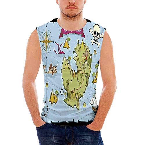 Ringer T-shirt Fish Kids (Mens Island Map Tank Top Sleeveless Tees All Over Print Casual T- Shirts,Treasur)