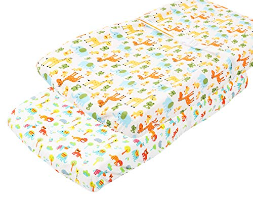 Waterproof Changing Pad Cover Set 2 Pack 100% Jersey Cotton 190 GSM Thickest Ultra Soft Stretchy Baby Girl Boy No Need for Changing Pad Liner Cute Animal by Knlpruhk ()