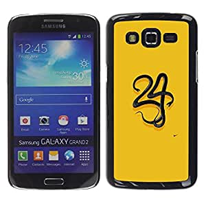 FECELL CITY // Duro Aluminio Pegatina PC Caso decorativo Funda Carcasa de Protección para Samsung Galaxy Grand 2 SM-G7102 SM-G7105 // 34 Yellow Minimalist Number