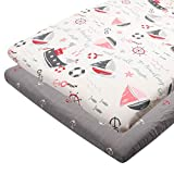 ALVABABY Pack n Play Baby Play Playard Sheets, 2pcs 100% Organic Cotton,Large 27x39x4,Soft and Light,Portable Crib Sheet for Boys and Girls Player Matteress 2FTPSW17