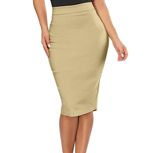 3749dbe5a Amazon.com: Women High Waisted Split Elastic Knee Length Pencil Skirt  Business Work Office Skinny Skirts: Clothing