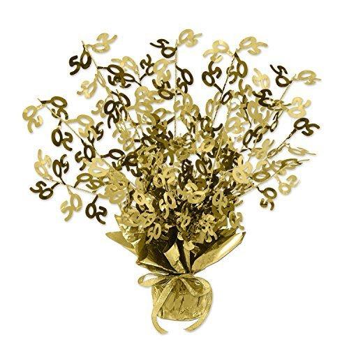 Beistle Gold 50 Gleam N Burst Centerpiece, 15-Inch, Gold (Value 3-Pack)