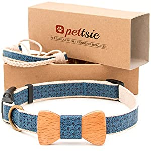 Pettsie Pet Dog Collar Bow Tie and Friendship Bracelet for you, Durable Hemp for Extra Safety, 3 Easy Adjustable Sizes, Comfortable and Soft, Strong D-Ring for Easy Leash Attachment