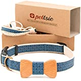 Pettsie Dog Collar with Bow Tie Pet and Friendship Bracelet, Durable Hemp for Extra Safety, 3 Easy Adjustable Sizes, Comfortable and Soft, Strong D-Ring for Easy Leash Attachment