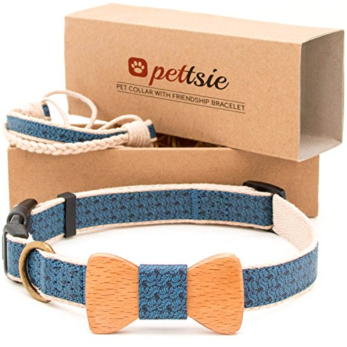 Matching Dog Collar Bow Tie & Owner Friendship Bracelet, Adjustable Size X-Small, Small & Medium, Safe, Durable, Eco Friendly Hemp with Fancy Pattern and Soft, Strong D-Ring for Easy Leash Attachment