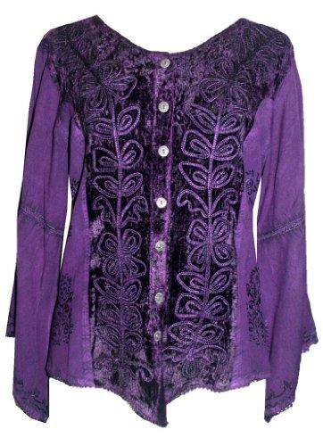 Purple Velvet Blouse - 4