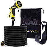 Garden Hose-100ft Expandable Hose - Heavy Duty Flexible Leakproof Hose - 9-Pattern High-Pressure Water Spray Nozzle & Bag & Plastic Holder.No Kink Tangle-Free Pocket Water Hose