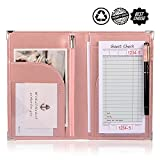 Server Books for Waitress or Waiter | Cute Server Wallet with Zipper Pocket for Restaurant Receipt or Money Check Holder, Waitress Book Fits in Apron + Includ Guest Order Note Pad by WFD.L (Pink)