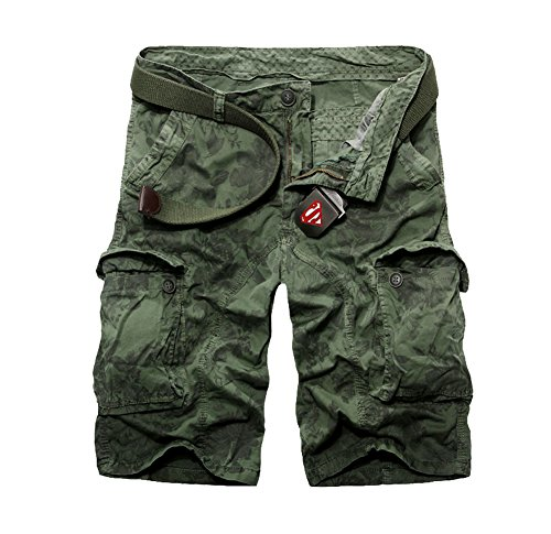 Tonwhar Men's Vintage Camouflage Relaxed Fit Summer Cargo Short (33, green)