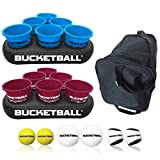 BucketBall - Team Color Edition - Party Pack (Light Blue/Maroon): Original Yard Pong Game: Best Camping, Beach, Lawn, Outdoor, Family, Adult, Tailgate Game